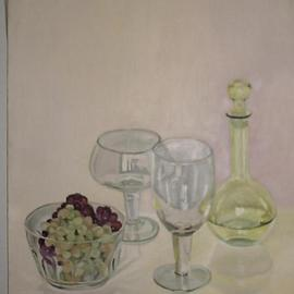Maria Teresa Fernandes Artwork grapes and crystals, 1982 Oil Painting, Food