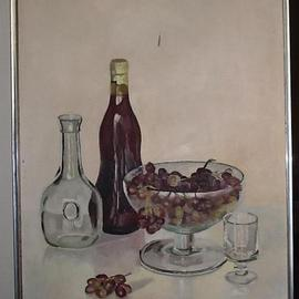 Maria Teresa Fernandes: 'grapes and red wine', 1980 Oil Painting, Food. Artist Description: have to know how to work with subtle reds and not shocking ones, but beeing more artistic...