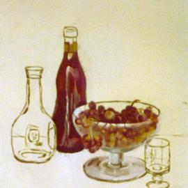 Maria Teresa Fernandes: 'grapes and red wine making of', 1980 Oil Painting, Food. Artist Description: first stage at studio ...