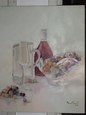 Culture Oil Painting by Maria Teresa Fernandes Title: grapes and wine bottle, created in 1992