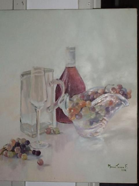 Artist Maria Teresa Fernandes. 'Grapes And Wine Bottle' Artwork Image, Created in 1992, Original Drawing Pencil. #art #artist