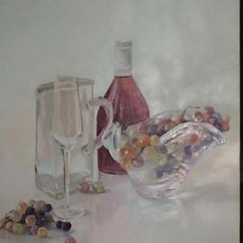 Maria Teresa Fernandes: 'grapes and wine bottle', 1992 Oil Painting, Culture. Artist Description: thick glass is a good patience award to the painter on a clear background - means lots of work...