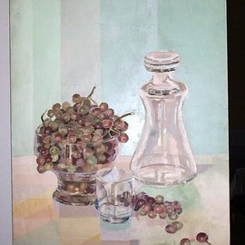 Maria Teresa Fernandes: 'grapes in a bowl', 1980 Oil Painting, Food. Artist Description:  green hues are subtle with emphasis ontransparent glass ( a very small hole at upper left easily covered by frame ) ...