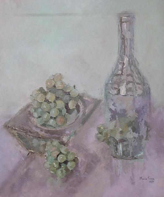 Maria Teresa Fernandes  'Grapes In A Square Bowl', created in 1971, Original Drawing Pencil.
