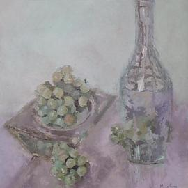 Maria Teresa Fernandes Artwork grapes in a square bowl, 1971 Oil Painting, Food
