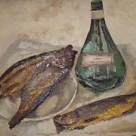 Maria Teresa Fernandes: 'herrings', 1969 Oil Painting, Fish. Artist Description: grades and reflexes are a suffering heaven to the artist...