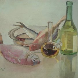 Maria Teresa Fernandes: 'mb furniture design collection', 1981 Oil Painting, Food. Artist Description:  reflections and refractions in the same painting, means lots of work ...