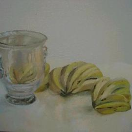 Maria Teresa Fernandes: 'mbdesign  collection', 1995 Oil Painting, Food. Artist Description:  different elements : glass and bananas ...