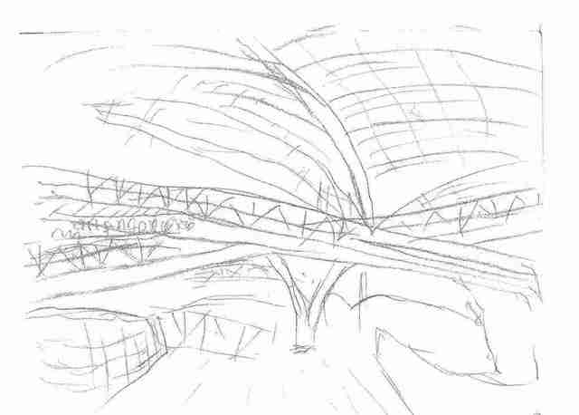 Maria Teresa Fernandes  'Metal Roof At CCSP By Ebf', created in 2005, Original Drawing Pencil.