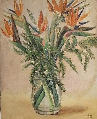 Maria Teresa Fernandes Artwork orange flowers, 1968 Oil Painting, Floral