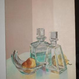 Maria Teresa Fernandes Artwork pear with glass, 1975 Oil Painting, Food