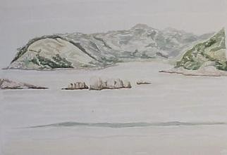 Maria Teresa Fernandes Artwork plans at sea, 1970 Watercolor, Mountains