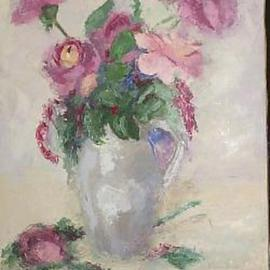 Maria Teresa Fernandes Artwork purple flowers, 1971 Oil Painting, Floral