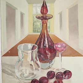 Maria Teresa Fernandes: 'red  prunes', 1974 Oil Painting, Food. Artist Description:  1st and 2nd plans gives dimension on a flat canvas.  very easy. . . ...