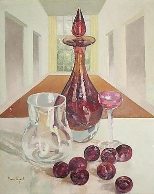 Maria Teresa Fernandes: 'red prunes', 1974 Oil Painting, Food.   thick glass has a world of possibilities, and effort( this painting won honoured mention at ABD- ABI press association show   glass against a clear background is a big challenge to any painter                        ...