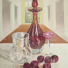 Maria Teresa Fernandes: 'red prunes', 1974 Oil Painting, Food. Artist Description:   thick glass has a world of possibilities, and effort( this painting won honoured mention at ABD- ABI press association show   glass against a clear background is a big challenge to any painter                        ...