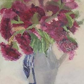 Maria Teresa Fernandes Artwork reds in a blue vase, 1967 Oil Painting, Floral