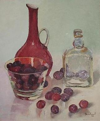 Maria Teresa Fernandes: 'reds thru glass', 1971 Oil Painting, Food.  always a softned red, never darken pigments if you want a real