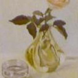 Maria Teresa Fernandes: 'rose in a drop', 1981 Oil Painting, Fantasy. Artist Description: thick glass is a stimulus for the painter ( unknown collector, waiting for a better photo ) ...
