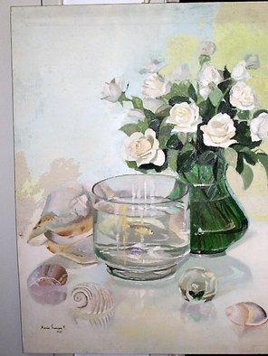 Maria Teresa Fernandes Artwork 'roses and aquarium', 1981. Oil Painting. Animals. Artist Description: sea memories of good moments ( this painting won Small Silver Medal at SBBA UNAP Santos Dumont ) ......