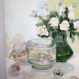 Maria Teresa Fernandes: 'roses and aquarium', 1981 Oil Painting, Animals. Artist Description:  sea memories of good moments ( this painting won Small Silver Medal at SBBA UNAP Santos Dumont ) ...