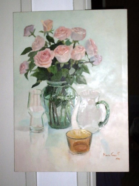 Maria Teresa Fernandes roses and yellow bowl 1996