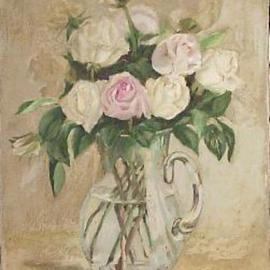 Maria Teresa Fernandes Artwork roses in a jug, 1968 Oil Painting, Floral