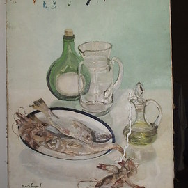 Maria Teresa Fernandes: 'shrimps and fishes', 1978 Oil Painting, Food. Artist Description:  all difficult objects to paint : reflective fish and transparent glass ...
