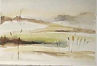 Maria Teresa Fernandes: 'some dunes', 1980 Watercolor, Space. to mix colours is impossible with watercolor - no errors are permited...