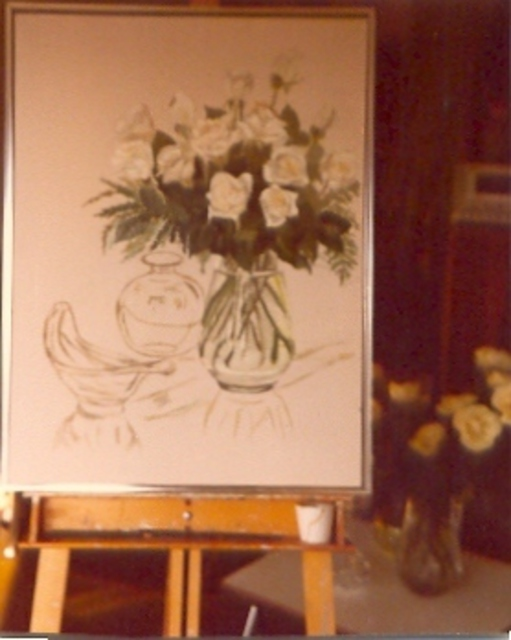 Maria Teresa Fernandes  'Vessel And Roses Making Of', created in 1977, Original Drawing Pencil.