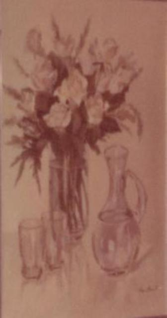 Maria Teresa Fernandes  'White Roses And Two Glasses', created in 1977, Original Drawing Pencil.