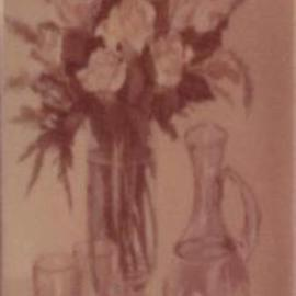 Maria Teresa Fernandes Artwork white roses and two glasses, 1977 Oil Painting, Romance