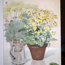 Maria Teresa Fernandes: 'yellow flowers and jar', 1979 Oil Painting, Botanical. Artist Description:  glassy objects give a realistic touch to the painting ...