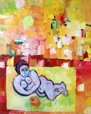 Artist: Eric Henty - Title: Nude Woman Eating Fruit Under Mango Sky - Medium: Oil Painting - Year: 2010
