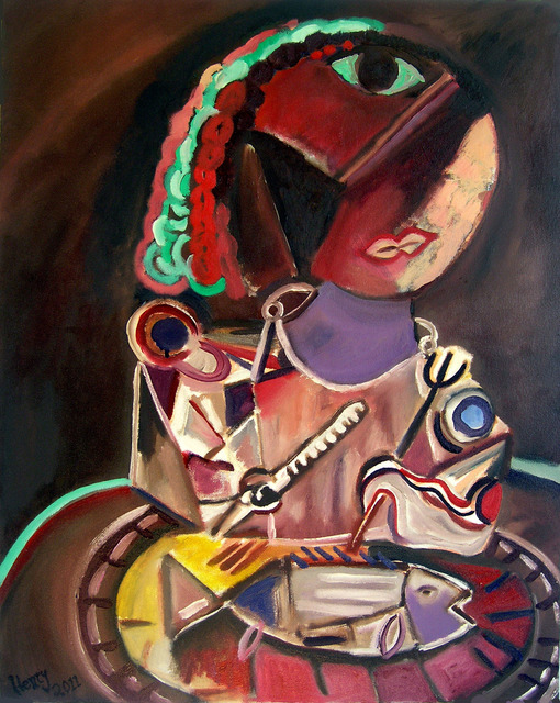 Eric Henty  'Woman Contemplating While Eating Fish For Dinner', created in 2011, Original Painting Acrylic.