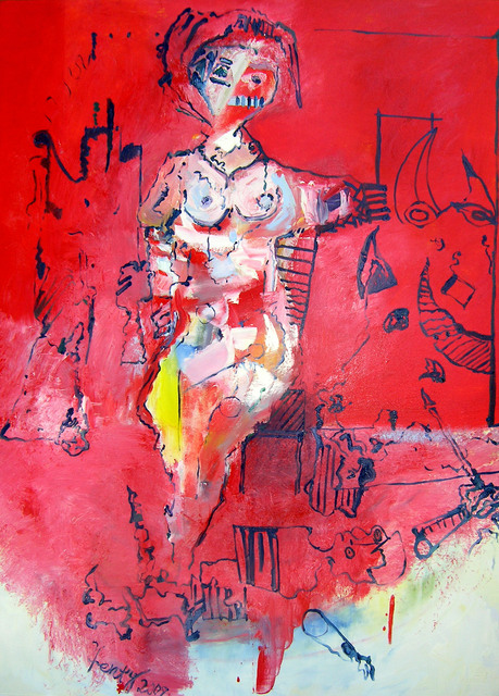 Eric Henty  'Woman At Bull Masquarade', created in 2009, Original Painting Acrylic.