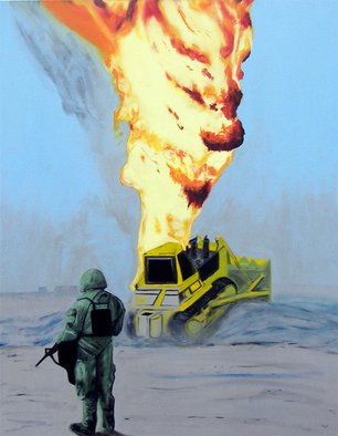 Eric Korbly: 'Oil Well Fire 1', 2009 Oil Painting, Surrealism.