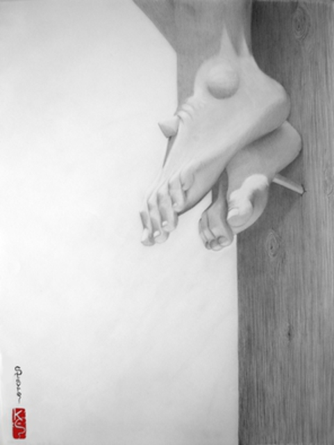 Eric Stavros  'Crucifixion', created in 2007, Original Drawing Pencil.