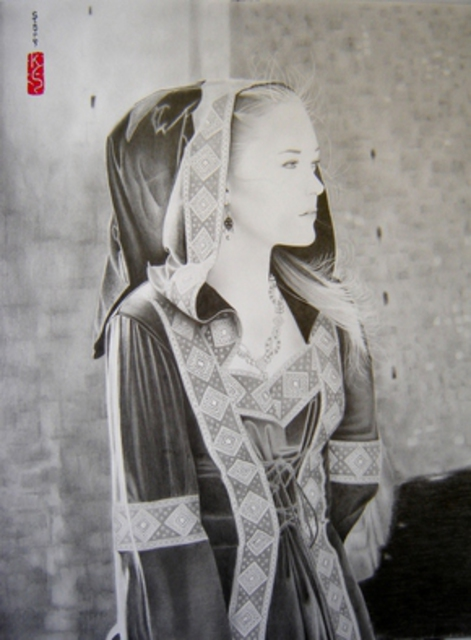 Eric Stavros  'Medieval Beauty', created in 2012, Original Drawing Pencil.