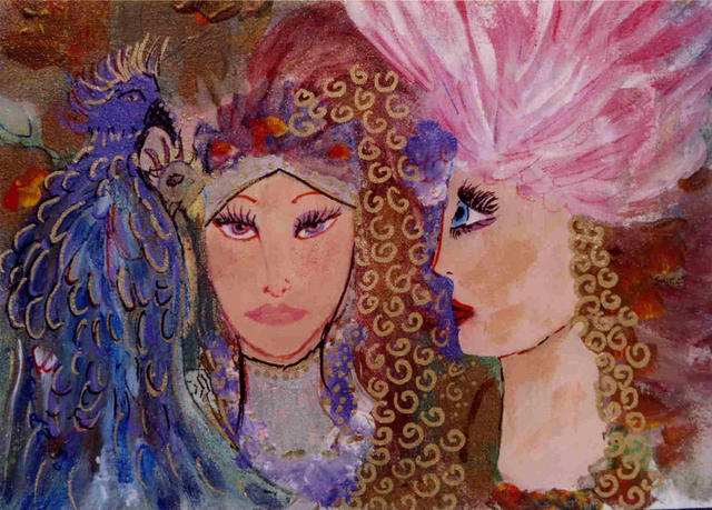 Artist Ellen Safra. 'Birds Of A Feather' Artwork Image, Created in 2003, Original Painting Oil. #art #artist
