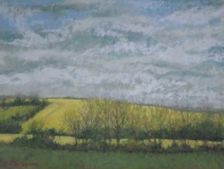 E S Desanna: 'fields under an english sky', 2019 Pastel, Landscape. After a week of painting at West Dean, I sat in the window seat of the bus to Chichester UK. It was April, and the blooming rape fields were brilliant yellow against a cloudy sky. I shot several photos from the moving bus to use for studio work. ...