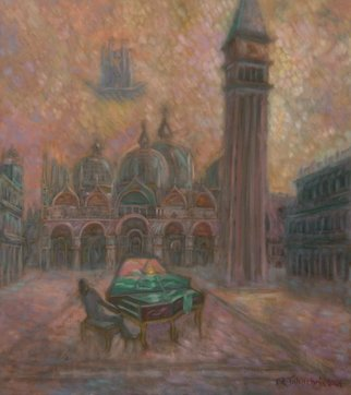 Music Oil Painting by Edward Tabachnik Title: Allegro Concert at St Mark Square, created in 2004