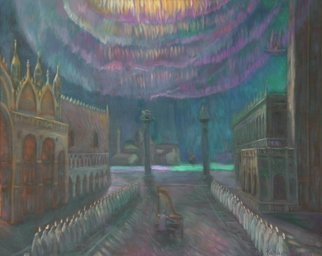 Music Oil Painting by Edward Tabachnik Title: Aurora Borealis at St Mark Square, created in 2006