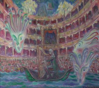 Edward Tabachnik Artwork Castrati Farinelli playing Harp, 2005 Oil Painting, Theater