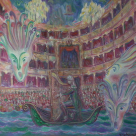 Edward Tabachnik: 'Castrati Farinelli playing Harp', 2005 Oil Painting, Theater. Artist Description:  New style: Romantic Expressionism.Series: Theater.Series: Ancient Musical Instruments.The Famous counter tenor in the middle ages Farinelli. ...