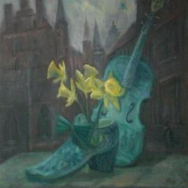 Edward Tabachnik: 'Shoe Blue Violin with Artist Head', 2007 Oil Painting, Still Life. Artist Description:  New style: Romantic Expressionism.Delftware at Musical Museum in Antverpen. Blue violin and shoe by delft ceramics.Oil on the panel. ...