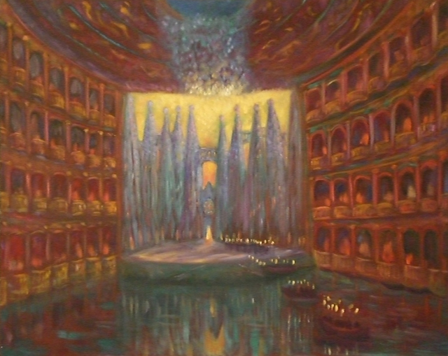 Edward Tabachnik  'Water Theater', created in 1998, Original Painting Oil.