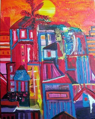 Evie Tirado: 'previous address', 2015 Acrylic Painting, Abstract.      abstract acrylic expressionism . buildings    ...