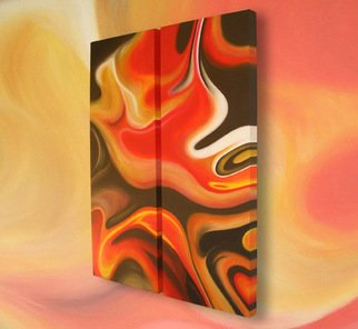 Rob Alban: 'Burning Desire', 2008 Acrylic Painting, Abstract.  Diptych abstract painting in reds, browns and ochres. ...