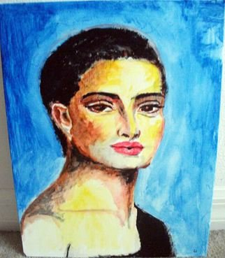 Ina Jinapaia: 'At Midnight', 2014 Acrylic Painting, Portrait.   A woman in deep blue background ...